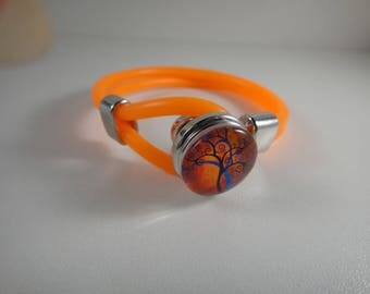 New: Bracelet in neon orange burna for interchangeable snap Chunk of 18 to 25mm