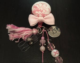 Retractable Badge Clip handmade pink breast cancer awareness.