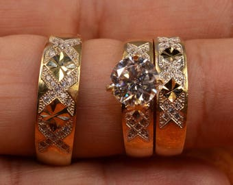 Regaalia Jewels Mens Ladies Gold Over Diamond Engagement Bridal Wedding Ring Trio Set 1.55 Ct