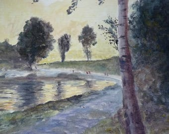 Oil painting from the end of day on Lake in Haute-Savoie Passy