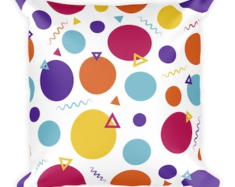 """Party Square Pillow 18""""x 18"""" Ready for Living Room or Bedroom"""