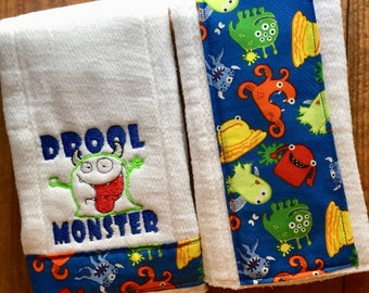 Set of Two Drool Monster Burp Cloths/Spit Rags