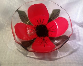 Red Flower Fused Glass Bowl