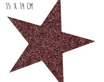 Star pattern fusible thin 15 x 14 cm Brown glitter