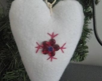 White felt with red rhinestone/embroidery flower hearts