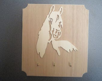 carved horse head key hook