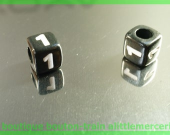 number 1 cube bead 7 mm black and white plastic