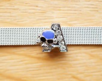 letter width skull bead has purple alphabet for bracelet