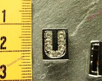 letter width square rhinestone Bracelet 8mm bead