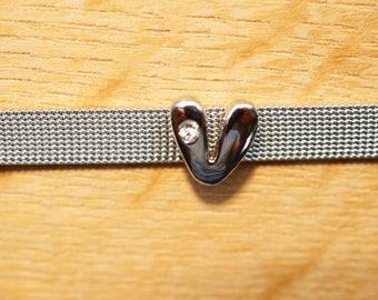 round letter bead bubble width aluminum V alphabet bracelet