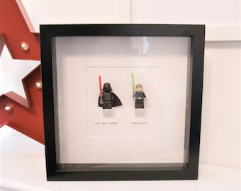 No. I am Your Father! - Star Wars Framed Minifigure with Darth Vader and Luke Skywalker.