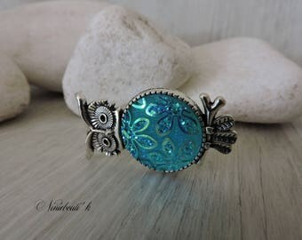 OWL ring and turquoise cabochon