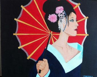 Japanese geisha acrylic painting