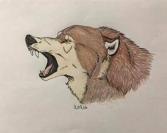 Angry Wolf - Original Artwork