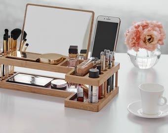 Makeup Organizer | IPhone Holder | Cosmetic Wood Organizer Box Case | Makeup  Storage | Christmas