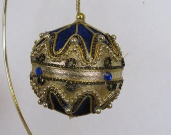 Hand embelished Vintage Royal Blue With Gold round about 3 inches Handmade