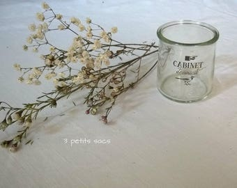"""Candle glass sticker industrial black print """"cabinet of curiosities"""" shabby chic"""