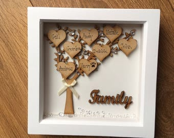 Family tree boxed frame, handmade, keepsake. Ideal for wedding, New home, Valentine's Day, Mother's Day, birthday gift.