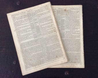 10 Large Antique 1860s Bible Pages / Old Testament / Bible / Biblical Print / Crafts / Prayer Journal / Smash Book / Scrapbook / Printing