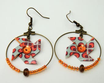 """Flower windmill"" Origami earrings Orange Blue Retro"