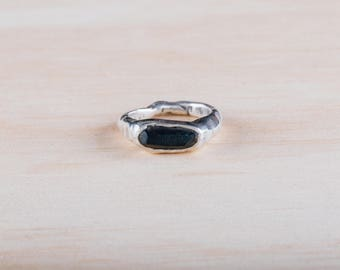 Destroyed Sterling Silver Ring with Black Jade