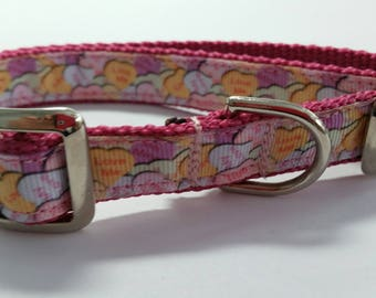 Candy Hearts Dog Collar 3/4 inch wide - One Left
