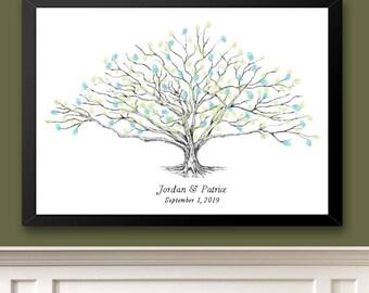 Low Oak Tree Thumbprint Guestbook Print, Fingerprint Guest Book, Wedding, Bridal Shower, Family Reunion, Alternative (8 x 10- 24 x 36)