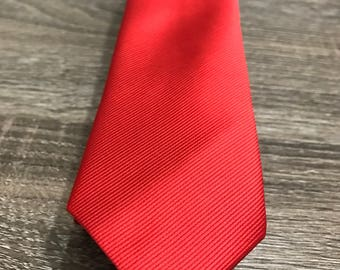 Firetruck solid red silk skinny tie