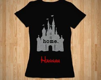Women's Disney Castle Home Glitter Tee, Disney Trip, Custom Disney Tshirt, Family Vacation, Personalized Tshirt