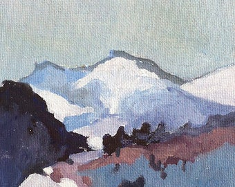 Mountains 5x7 Original Oil Painting