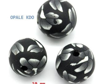 Set of 10 beads 10mm flower pattern black polymer clay