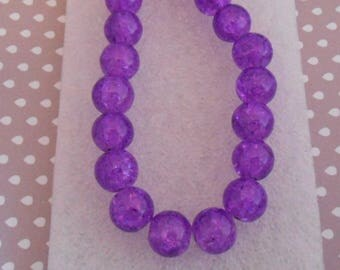 Set of 12 purple 10 mm cracked glass beads