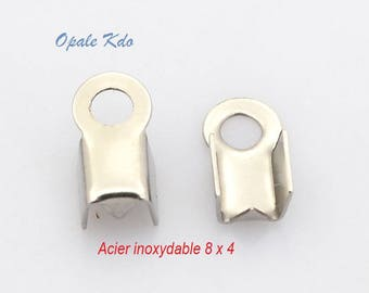 Set of 10 stainless steel 8 tips x 4 mm cord