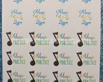 Music LESSON | Music PRACTICE | Planner Student Scrapbook Stickers