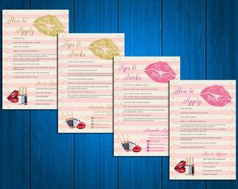 LipSense Tips and Tricks Card , LipSense Application Card, SeneGence Application Cards, Lipsense Business Cards, Digital Files LS01