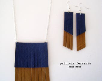 Set earrings and saffron/electric blue two-tone fringed leather necklace