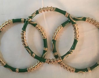 Green and Gold Middle Eastern flair bangle bracelets