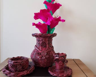Home decor,Basket, vase, flowers, rose, ornament, gift