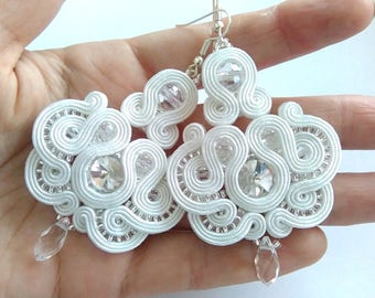 Bridal white silver crystals soutache earrings, handmade jewellery, original gift, retro vintage, free shipping