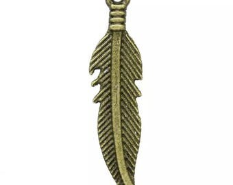 10 charms feather color bronze