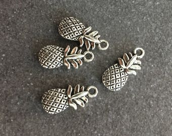 4 silver pineapple charms