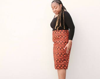 African print women clothing Ankara multi color print  print knee length fitted pencil skirt African fashion African clothing