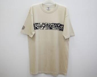 Crazy Shirt Hawaii Sharka Hibiscus Beige T Shirt Made In USA Size L