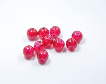 PE77 - Set of 8 cracked glass beads