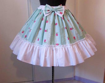 Skirt mint and white stripes and pink lolita