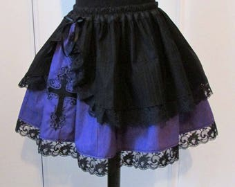 Embroidered skirt black and purple cross