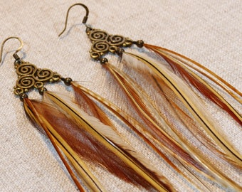 Natural feathers, ethnic style earrings
