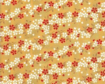 Japanese paper 42 x 29 cm yellow Chiyogami mustard gold sakura cherry blossom pattern