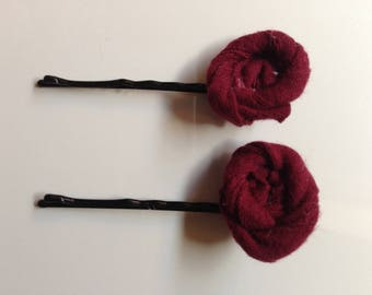Dark red fabric flower pins