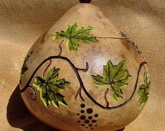 Grapevine Hand Carved Gourd